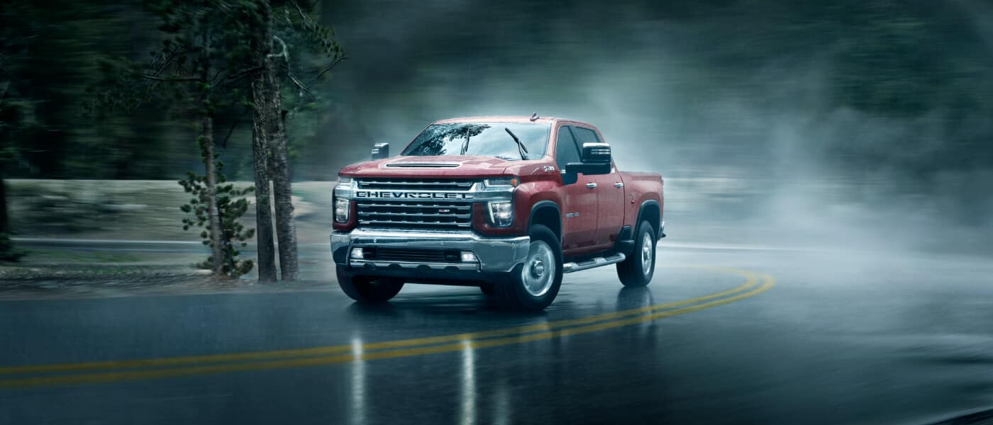 2020 Chevy Silverado 2500 HD going up a hill in the rain