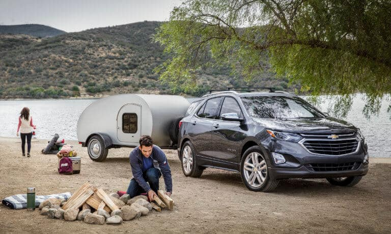 2021 Chevy Equinox exterior campsite with trailer