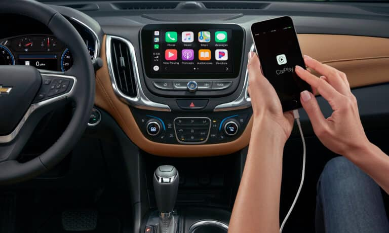 2021 Chevy Equinox interior infotainment screen with Apple CarPlay