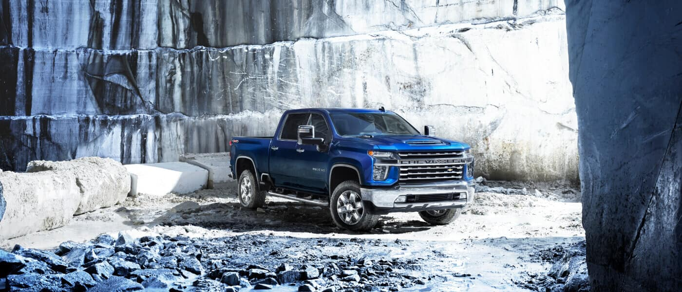 2021 Chevy Silverado 2500HD parked in a quarry