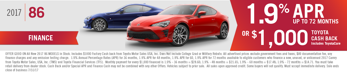Get 1.9% APR up to 72 months or $1000 Toyota Cash Back on a New 2017 Toyota 86 at Hamer Toyota