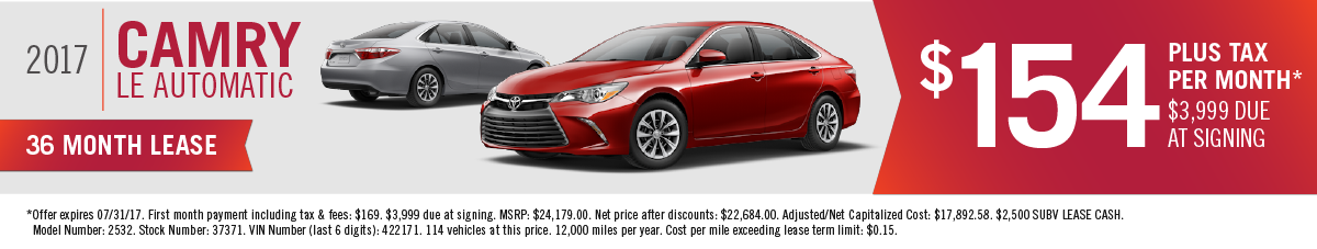 Get 0% APR up to 72 months and $500 Finance Cash OR $2750 Toyota Cash Back on a New 2017 Camry OR Lease for $154 a Month at Hamer Toyota