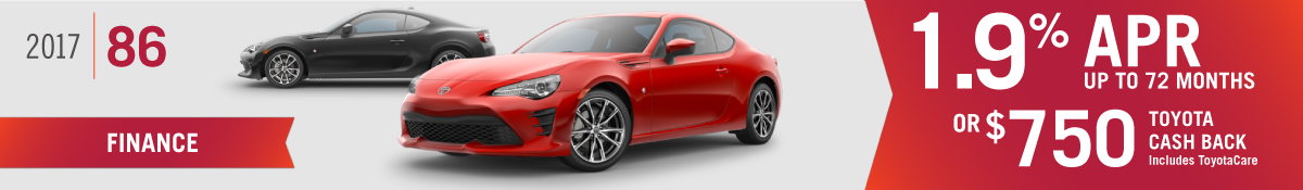 Get 1.9% APR up to 72 months or $750 Toyota Cash Back on a New 2017 Toyota 86 at Hamer Toyota