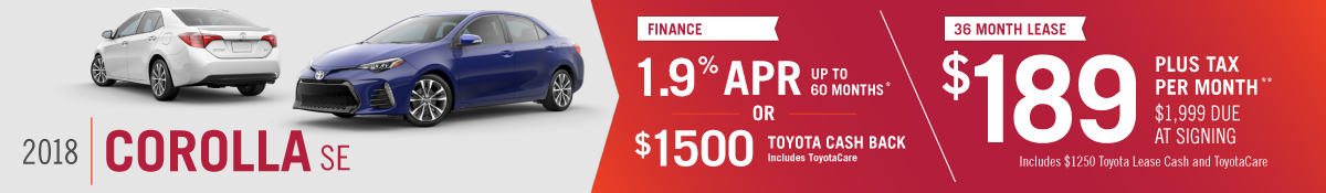 Get 1.9% APR up to 60 months or $1000 Toyota Cash Back on a New 2018 Toyota Corolla OR Lease a New 2018 Corolla SE for $189 per Month at Hamer Toyota