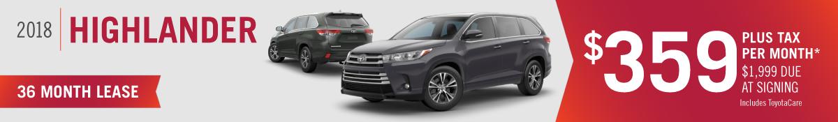 Lease a New 2018 Toyota Highlander for $359 per Month at Hamer Toyota