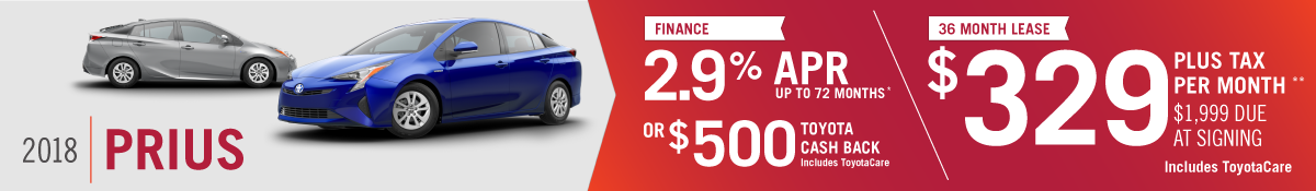 Get 2.9% APR up to 72 months OR $500 Toyota Cash Back on a New 2018 Toyota Prius OR Lease a New 2018 Prius for $329 per Month at Hamer Toyota