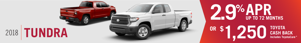 Get 2.9% APR up to 72 months OR $1250 Toyota Cash Back on a New 2018 Toyota Tundra at Hamer Toyota