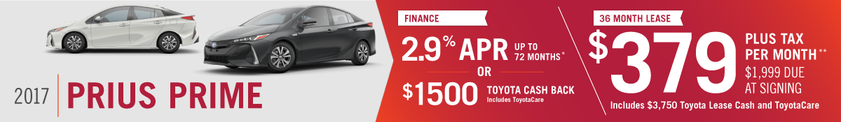 Get 2.9% APR up to 72 months OR $1500 Toyota Cash Back on a New 2018 Toyota Prius Prime OR Lease for $379 per Month at Hamer Toyota