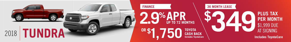 Get 2.9% APR up to 72 months OR $1750 Toyota Cash Back on a New 2018 Toyota Tundra at Hamer Toyota