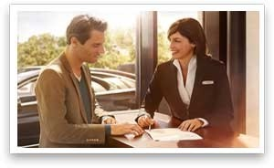 Man and woman preparing paperwork
