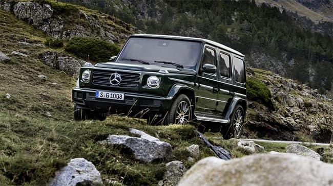 G class driving in rocky terrain