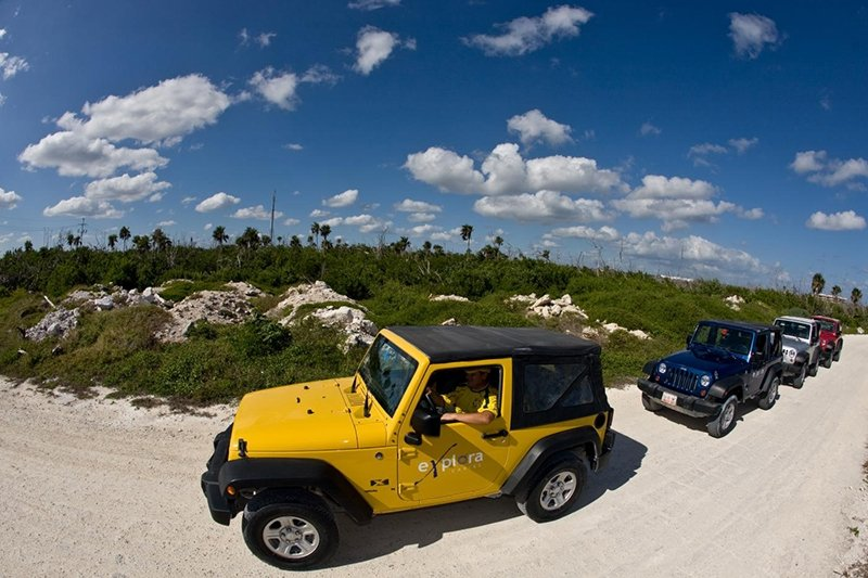 Jeeps on beach