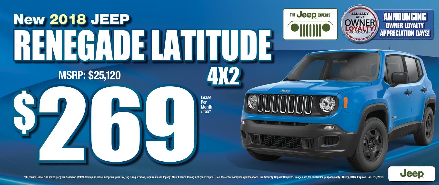 2018 Jeep Renegade $269 Lease