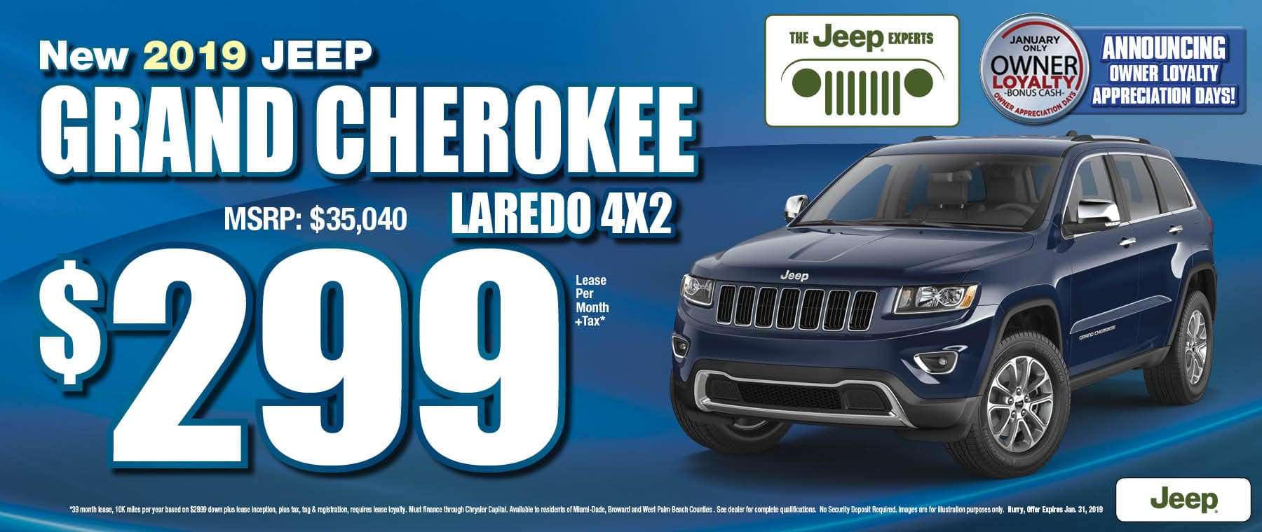 2019 Grand Cherokee Laredo  4x2 $299 Lease