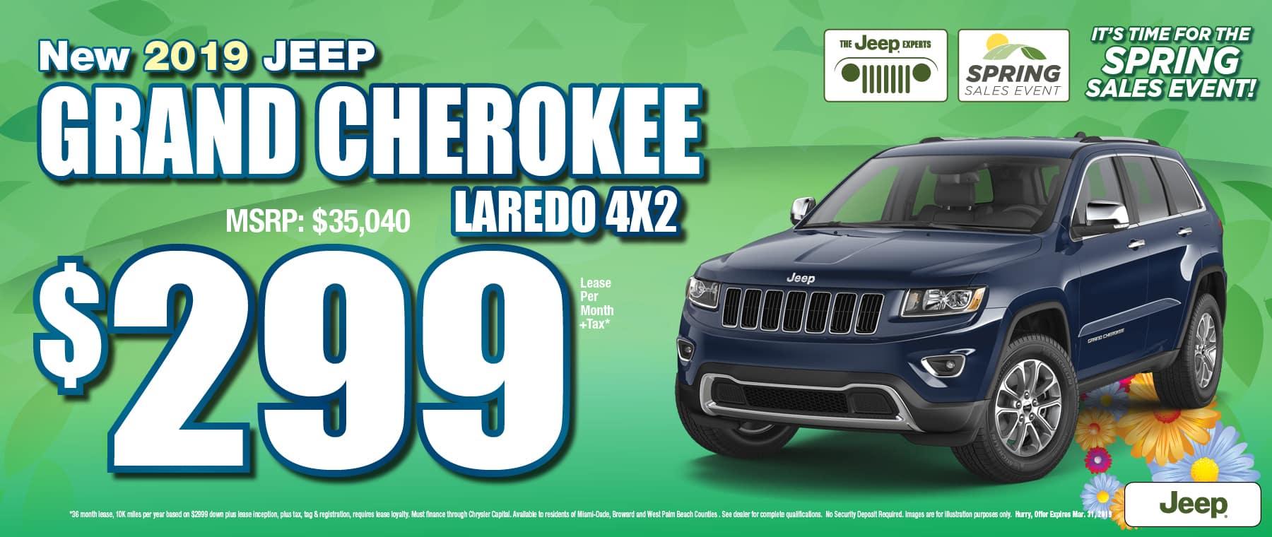 2019 Grand Cherokee Laredo  4x2 $299 Lease