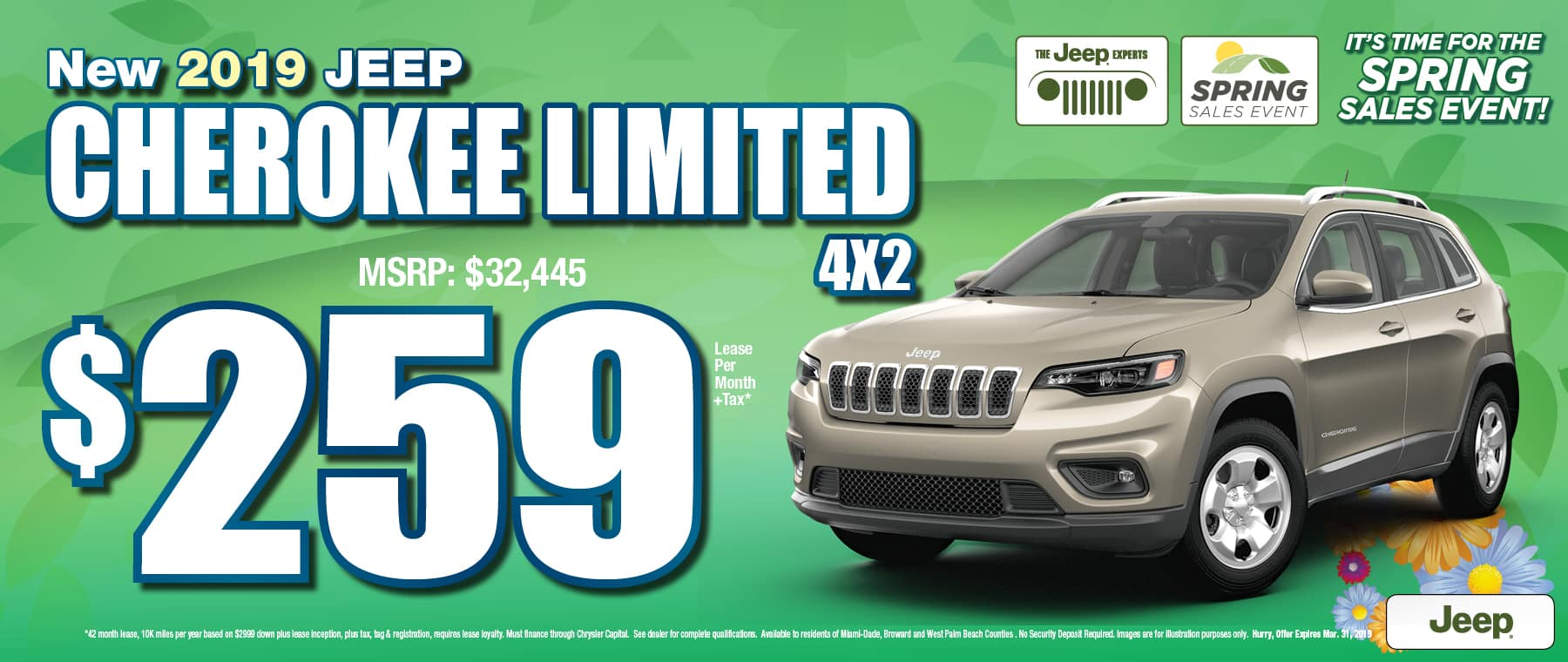2019 Jeep Cherokee Limited $259 Lease