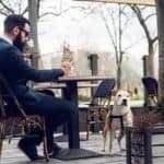 Man Drinking Coffee with Dog Nearby