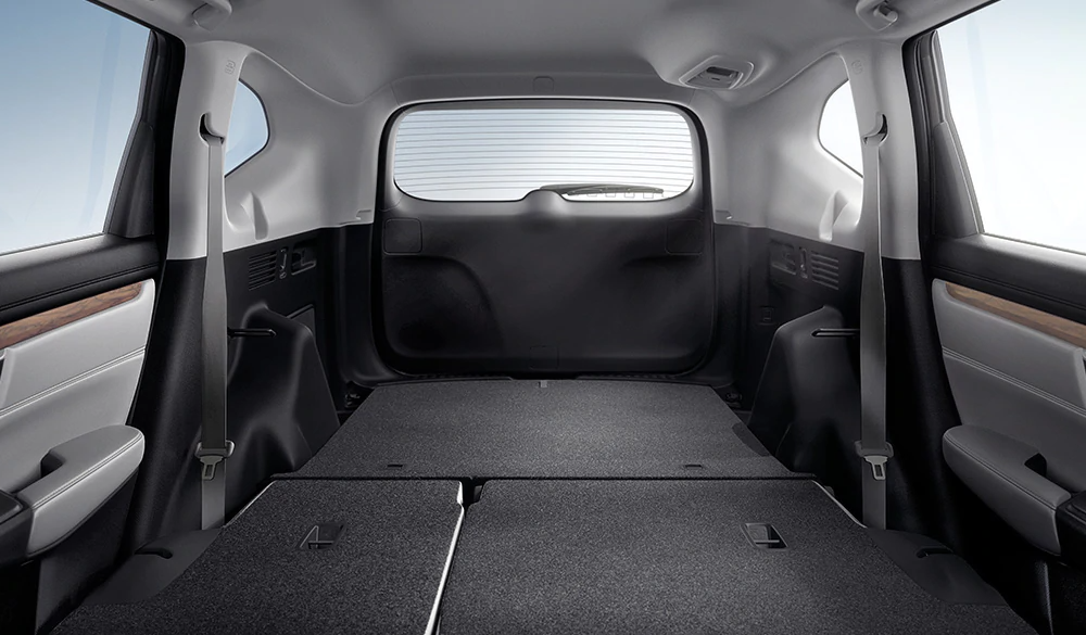 2020 CR-V cargo area with rear seats folded down