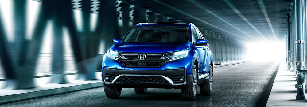 Blue 2020 Honda CR-V from the front