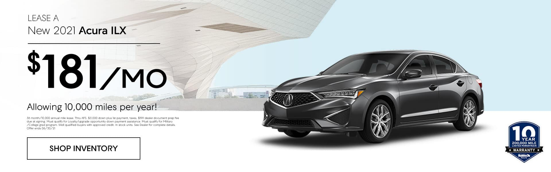 2021 Acura ILX just $ 181.00 per month allowing 10,000 miles per year!