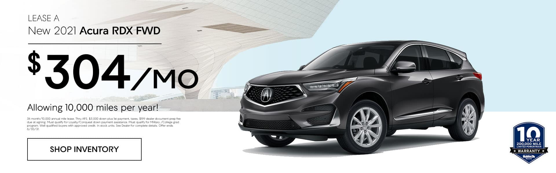 2021 Acura RDX FWD just $ 304.00 per month! Allowing 10,000 miles per year!