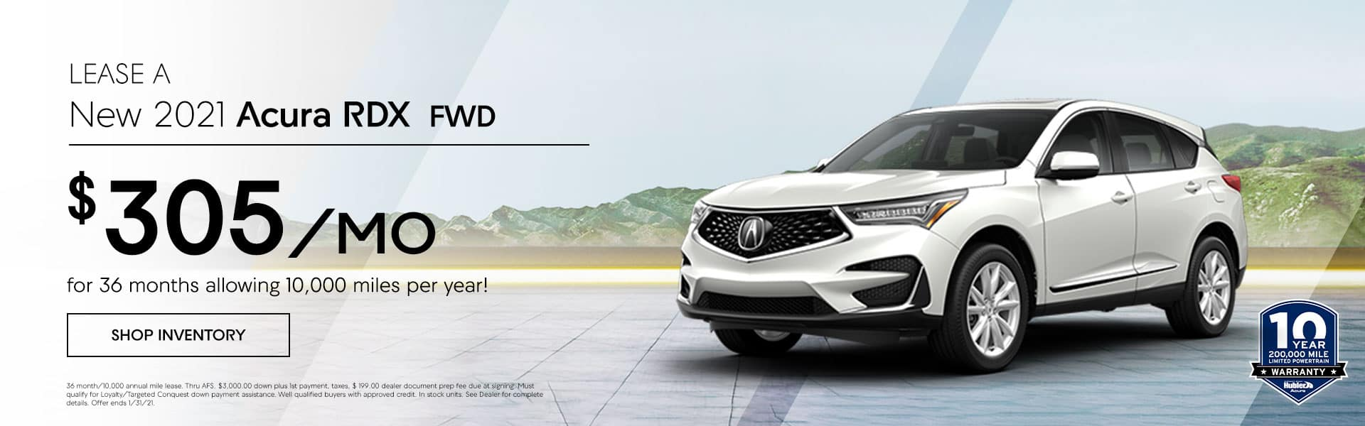 2021 Acura RDX FWD Lease for just $305.00 per month for 36 months allowing 10,000 miles per year!