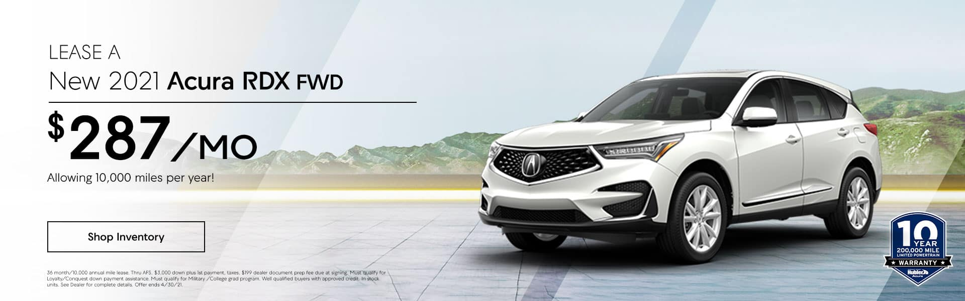 2021 Acura RDX FWD just $ 287.00 per month, Allowing 10,000 miles per year!