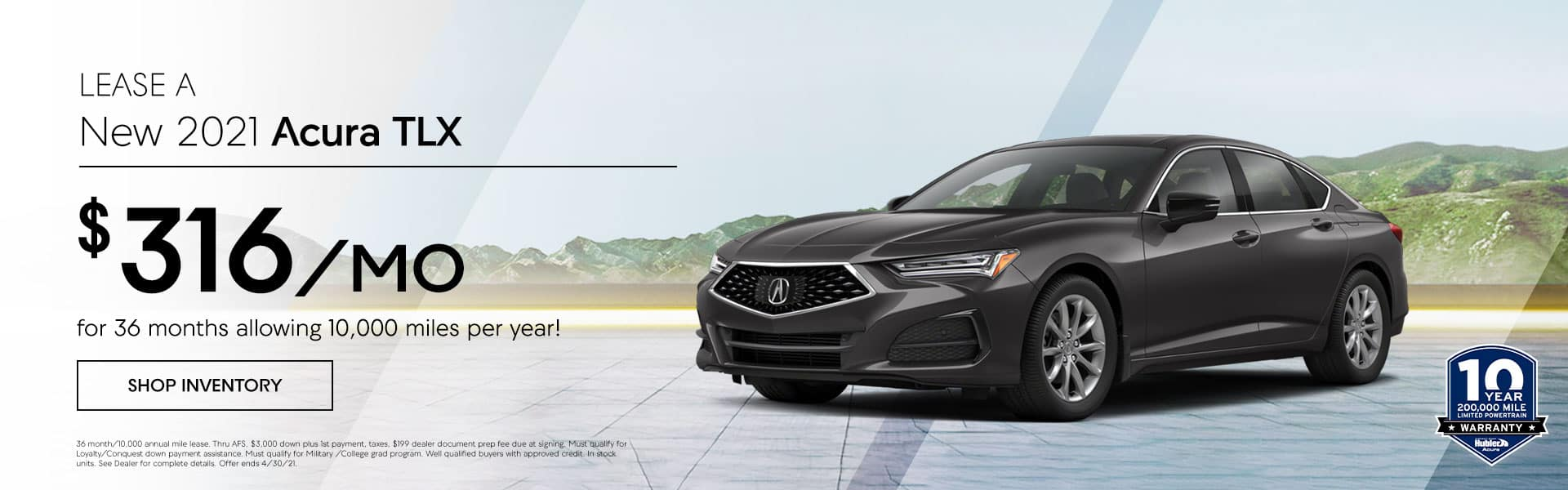 2021 Acura TLX just $ 316.00 per month, Allowing 10,000 miles per year!