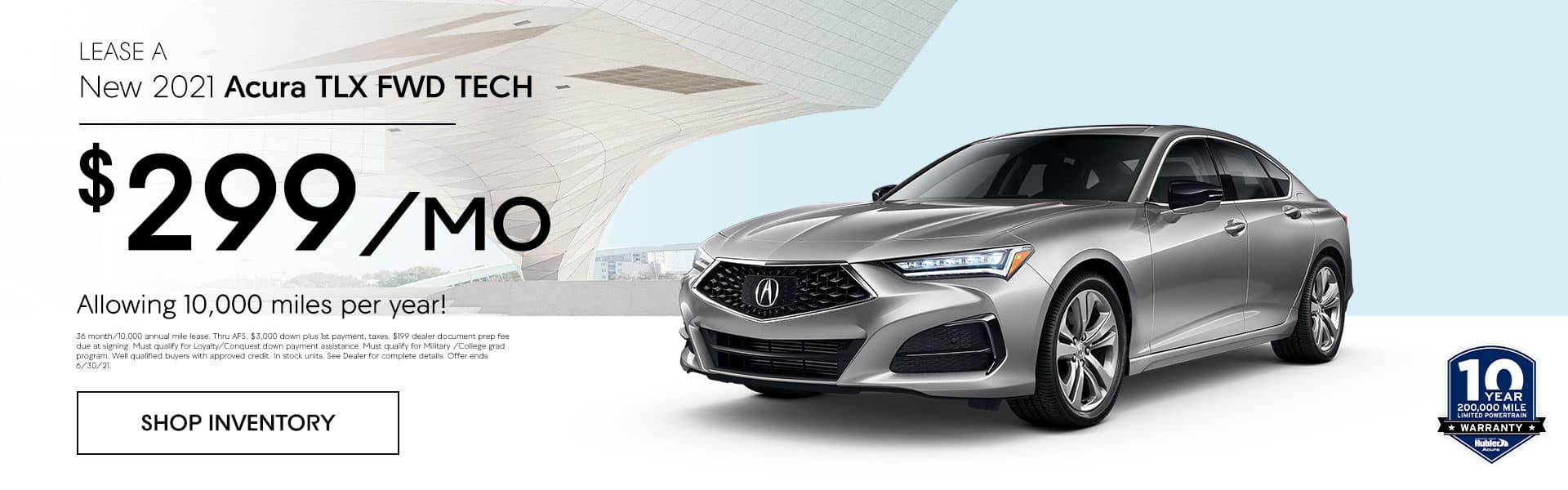 2021 Acura TLX FWD TECH just $ 299.00 per month per year! Allowing 10,000 miles