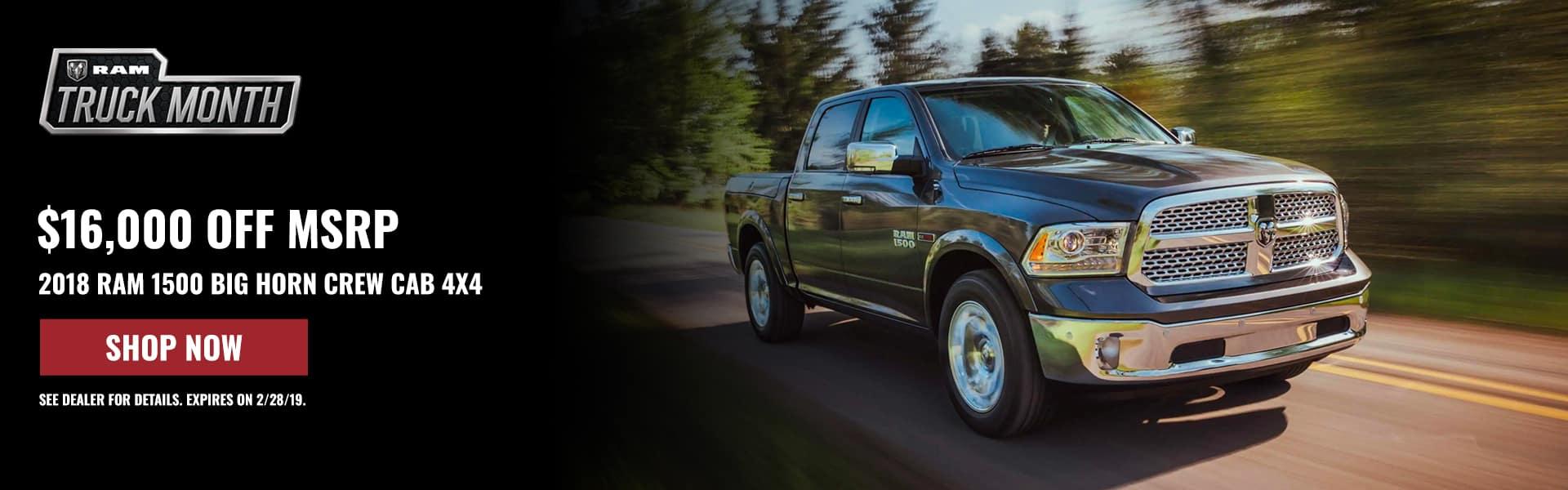 $16,000 off 2018 Ram 1500 Big Horn