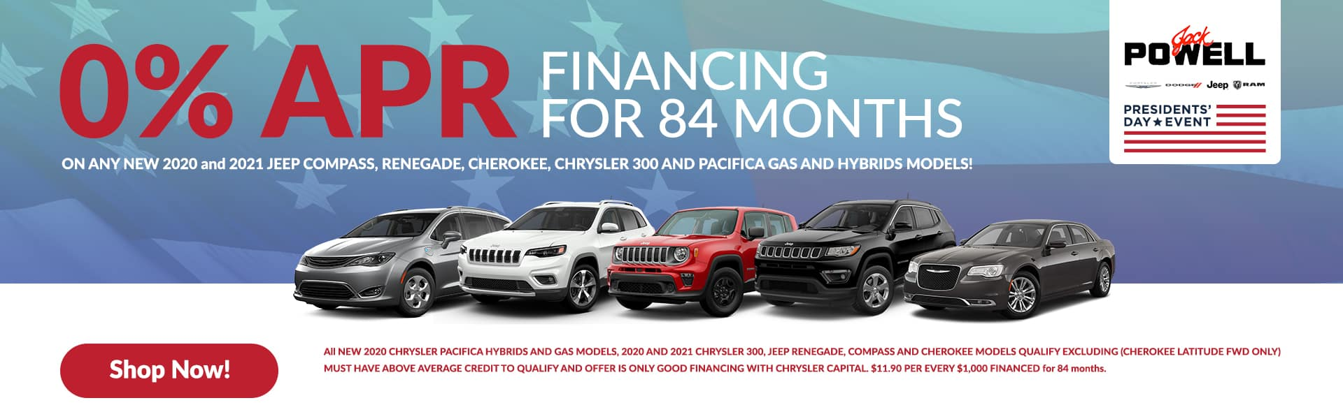 0% APR FINANCING FOR 84 MONTHS!!