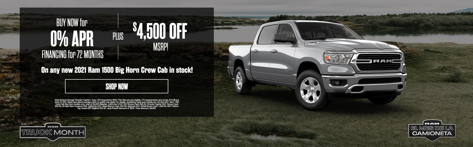 BUY NOW for 0% APR FINANCING for 72 MONTHS plus $4,500 OFF MSRP!
