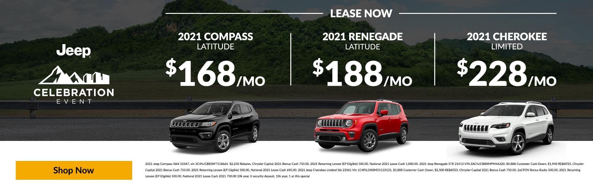 2021 Compass Latitude, 2021 Renegade Latitude - 2021 Cherokee Limited LEASE NOW $168 | $188 | $228