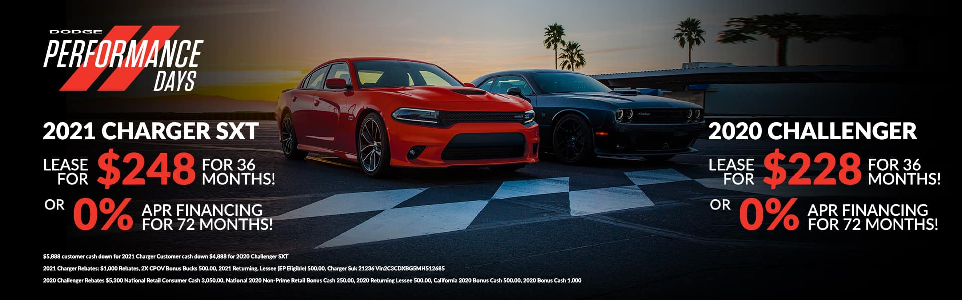 2021 Charger SXT LEASE for 248+ tax for 36 months! or 0% APR Financing for 72 months! 2020 Challenger: SXT LEASE for 228+ tax for 36 months! or 0% APR Financing for 72 months!