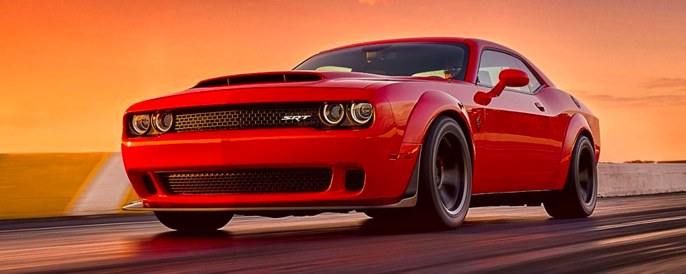 2018 Dodge Demon racing on a track