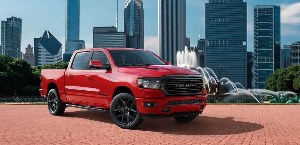 2020-Ram-1500-Laramie-in-red-parked-in-Chicago