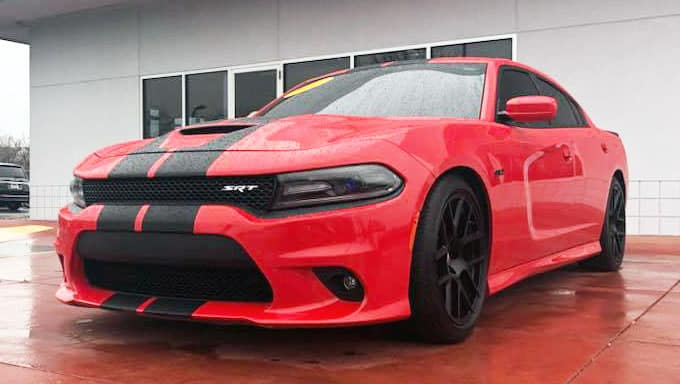 Red 2017 Dodge Charger with Black Strips