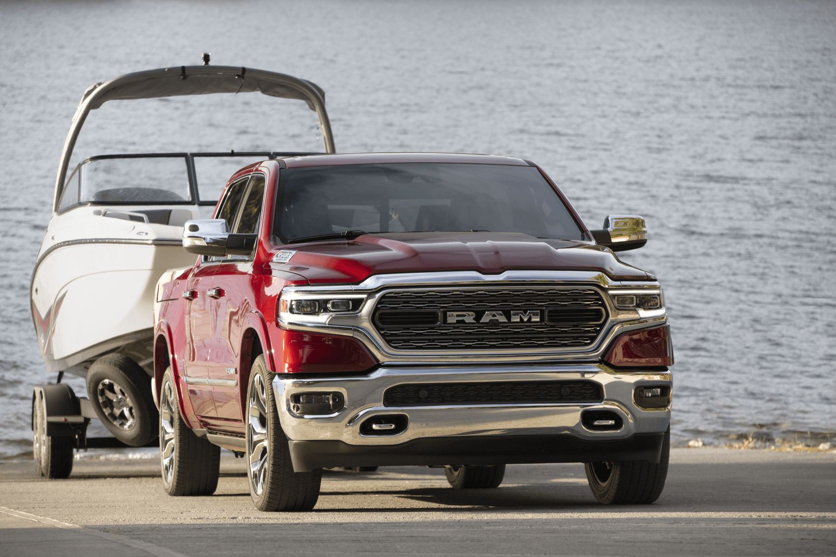 2021 Ram 1500 Red Towing Boat LaFontaine CDJR of Saline