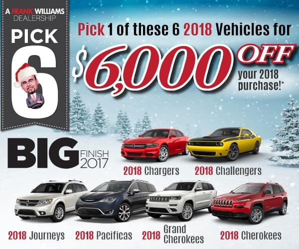 6 Models for $6000 OFF at Landers McLarty Dodge Chrysler Jeep Ram in Huntsville, AL!