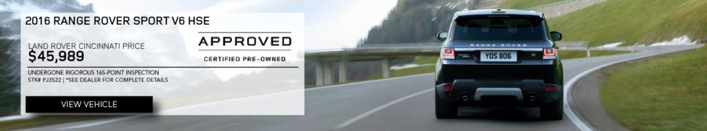 Black 2016 Range Rover Sport v6 hse on curving road. Land Rover Cincinnati price $45,989. Undergone 165-point inspection. Stock #PL3522. See dealer for complete details. Approved certified pre-owned.