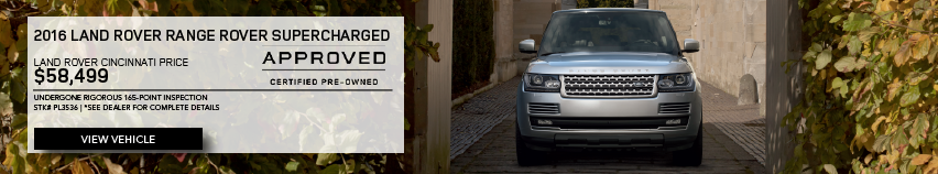 CERTIFIED PRE-OWNED Silver 2016 LAND ROVER RANGE ROVER SUPERCHARGED WITH NAVIGATION & 4WD in alley. Stock #PL3536. Click to view vehicle. See dealer for complete details. Dealership Price $58,499. Undergone Rigirous 165-point Inspection.