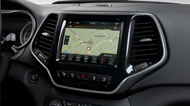 The Uconnect® 4C NAV with 8.4-Inch Touchscreen available in the 2019 Jeep Cherokee