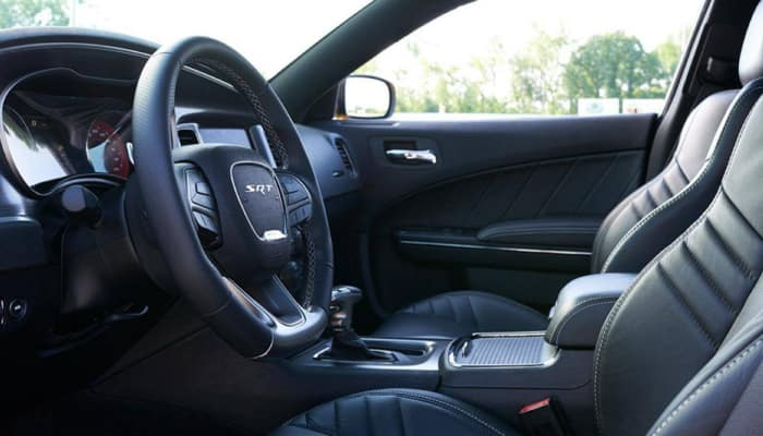 The sport interior of the 2019 Dodge Charger