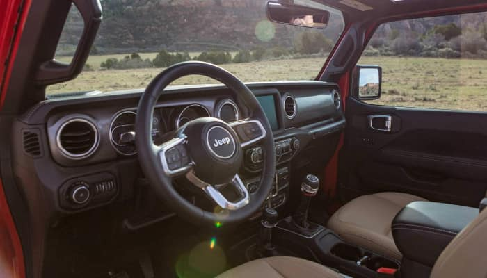 The rugged interior of the 2019 Jeep Wrangler JL