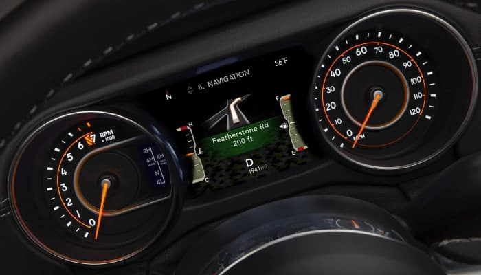 Digital driver information cluster inside the 2019 Jeep Wrangler JL