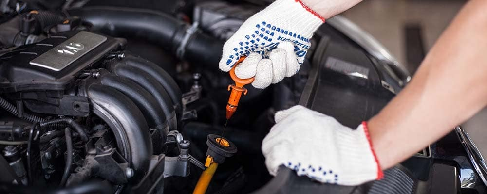 Mechanic changing oil filter