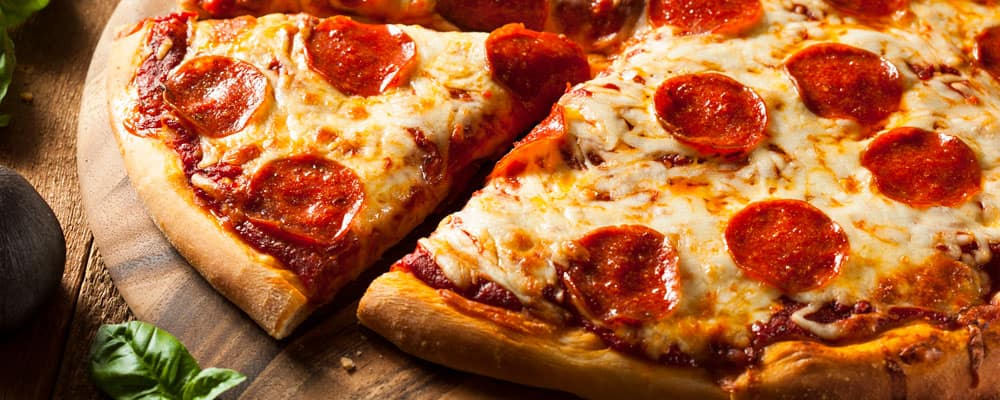Hot Pepperoni Pizza on Table
