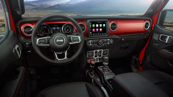 Front-seat view of Jeep Gladiator Rubicon interior and dashboard