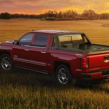 2018 Chevy Silverado 1500 with a sunset in fields