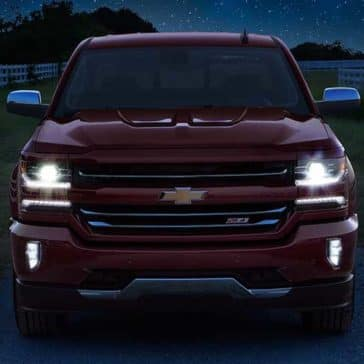 2018 Chevy Silverado 1500 at night, showing lights